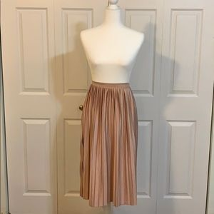 TOPSHOP blush pleated midi skirts